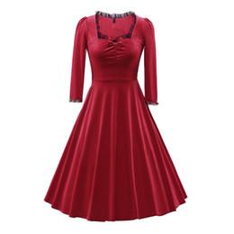 $enCountryForm.capitalKeyWord UK - Women's Vintage Audrey Hepburn Style 1950s Long Sleeve Square Collar Bow Velvet Casual Elegant Rockabilly Party Cocktail Swing Dress