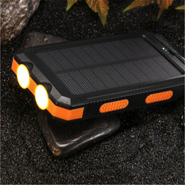 Power bank usb external backuP online shopping - Solar Power Bank mAh External Backup Battery Pack Dual USB Solar Panel Charger with LED Light Carabiner Compass Portable Charger
