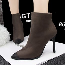 $enCountryForm.capitalKeyWord NZ - Vintage Style Lady Short Boot Dress Shoes Sexy Women High Heels Suede Festival Party Wedding Shoes Slim Formal Pumps Ankle Boots W16S150