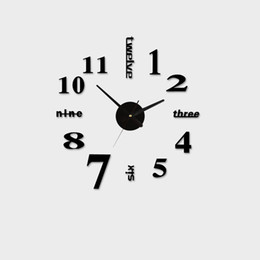 Discount mechanical light Wholesale- Acrylic Best Home Decoration DIY Wall Clock Unique Large number Stickers Self Adhesive home Decor Modern Wall
