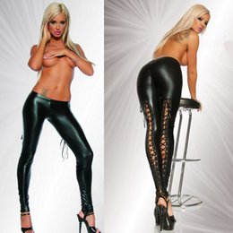 Barato Calça De Couro Lingerie-Atacado - Faux Leather Leggings Fetish Sexy Lingerie Faux Leather Preto Wet look Calças Punk Jeggings Fittness