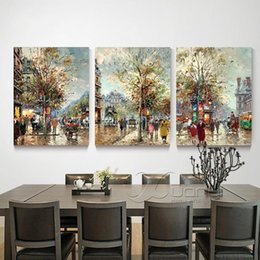 wall beds more 2019 - Street View Scenes 3 Panel Canvas Oil Painting Abstract Type Home Decor Wall Picture For Living Room Bed Room Unframed P