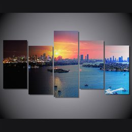 Discount oil canvas set - 5 Pcs Set Framed HD Printed Florida Miami City Picture Wall Canvas Print Room Decor Poster Canvas Painting Artwork
