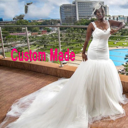 $enCountryForm.capitalKeyWord Australia - Sexy African Mermaid Wedding Dresses Straps Sweetheart Neckline Sleeveless Backless Lace Appliques Tulle Bridal Gowns with Train