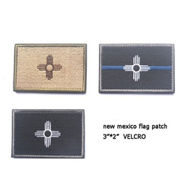 China 60 PCS Embroidery New Mexico Flag Patch Cloth Tactical Patches 3D Morale Armband Army Combat Gear Hook And Loops Badge free ship suppliers