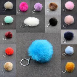 $enCountryForm.capitalKeyWord Canada - 3.15 Inch Faux Rabbit Fur Pom Pom Car Keychain Handbag Wallet Backpack Key Ring 24 Color C95Q