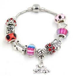 $enCountryForm.capitalKeyWord Canada - New Arrival DIY Pet Dog Bone Paw Print I love Dog Charm Bracelet European Style Bead Bracelets for Women Gift Jewelry Bijoux Pulsera