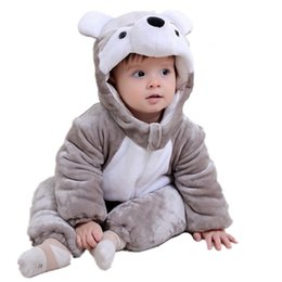 velvet clothes design Canada - AbaoDo grey bear design baby rompers cute warm bodysuit autumn long sleeve infants outfit kids clothing wear