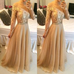 Discount line bateau chiffon lace - 2017 Gold Champagne Sexy Lace Long Sleeves Prom Dresses Bateau Pearls Waist Long Lace Appliques Organza Vestidos Evening