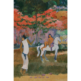 Chinese  Paul Gauguin artwork Reproduction Femme et cheval blanc oil painting canvas High quality Handmade Wall decor manufacturers