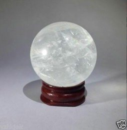 Sphere Healing Stone Canada - Wholesale NATURAL CLEAR QUARTZ CRYSTAL SPHERE BALL HEALING GEMSTONE 40mm +stand