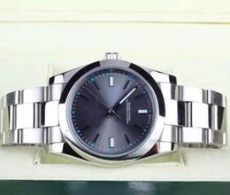 Alta calidad 39 mm Fecha acero gris Dial 114300 mecánico automático para hombre Relojes Relojes