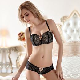60dfa637ff862 Half cup lace bra set girl without steel bra detachable shoulder strap bra  chest to prevent light MOXIAN underwear A B C cup 2057