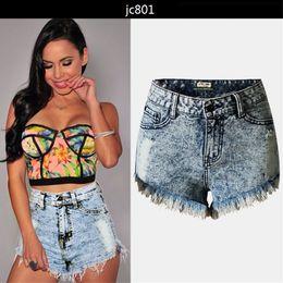 High Waist Ripped Shorts Wholesale Canada - Vintage Denim Shorts High Waist Jeans Women Tassel Loose Short Sexy Hot Summer Zipper Fashion Short Pants