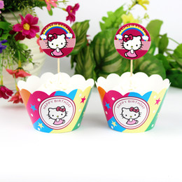 $enCountryForm.capitalKeyWord Australia - Wholesale-24pc Hello Kitty Party Paper Cupcake wrappers toppers for kids birthday party decoration cake cups (12pcs wraps+12pcs toppers)