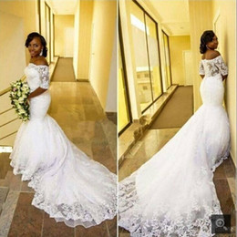 $enCountryForm.capitalKeyWord Canada - New White Mermaid Off the Shoulder African Women Wedding Dresses Half Sleeves Beaded Lace Buttons Back Black Women Wedding Gown