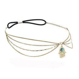 Chinese  New Arabian Hamsa Hand Fatima Tassel Hair Chain Angle Eye Headband Head Piece Women Hair Band Party Jewelry Gift MY-118 manufacturers