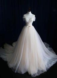 Wholesale ivory lace tulle fabric resale online - Pinterest Hot Sale Real Image Wedding Dress Elegant Fabric Tulle Off Sholder Floor Length Weddding Gowns