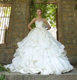 2017 Pnina Tornai Ball Gown Wedding Dresses High Quality Custom Made Nets Tiered Skirts Sweep Train Bridal Gowns Inexpensive