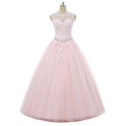 Coral quinCeanera dresses sweet 16 online shopping - Pink Quinceanera Dresses Ball Gown Cap Sleeves Tulle Beaded Crystals Appliques Lace Cheap Sweet Dresses