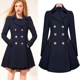 Wholesale Long Parka Canada - Jackets Ladies Lapel Winter Warm Long Parka Trench Outwear Jacket Size S-XXL Trench Coats Outerwear Women's Clothing double-breasted 3C