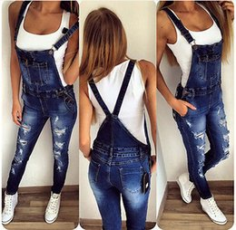 Wholesale denim overalls loose resale online – Womens Jumpsuit Denim Overalls Ripped Casual Loose Skinny Jeans Pants Hole Salopette Jeans Women Overalls size S XL
