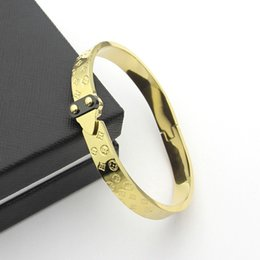 Stainless Steel Jewelry Brands UK - Top brand 316L Titanium steel bangle brand name for women and man 6.0*4.9cm wedding jewelry Free Shipping PS5393