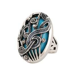 $enCountryForm.capitalKeyWord UK - Silver Jewelry Punk Tibetan Silver alloy Wrapped High -Quality Music Notation Resin 2017 Fashion Rings Hollow Vestidos De Festa