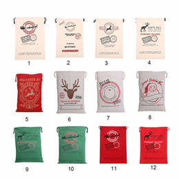 2017 christmas gift bags large organic heavy canvas bag santa sack drawstring bag with reindeers santa claus sack bags for kids free ship