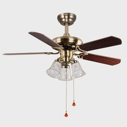 Hall Ceiling Light Canada - 60W Ceiling Fan LED Pendant Lamps E27 Black Red Style AC 220V LED Pendant Lights with Metal Glass for Hotel Hall