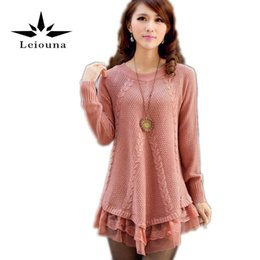 91f87fb423 Wholesale- Leiouna Warm Winter Women Dress Oversized Long Sleeve Pink  Knitted New Casual Ladies Clothing Cardigan Wool Sweater