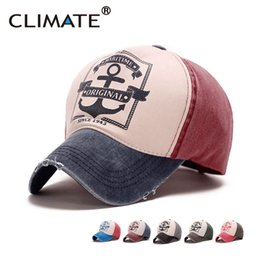 Anchor cAp online shopping - Climate Contrast Color Ship Maritime Hook Anchor Washed Fabric Baseball Caps Adjustable Casual Cotton Jeans Hat Adult Men Women