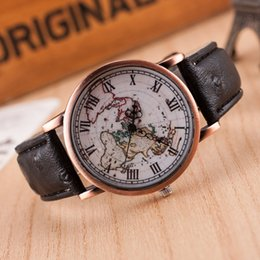 vintage chronograph men watch NZ - Old School Creative Watches Vintage World Map Leather Watch Unisex Quartz Watches popular design Men women Wristwatch
