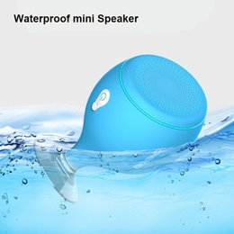 Wholesale 2017 Mini Whale Tail Floating IPX6 Waterproof Shower Portable Bluetooth Hifi Speaker with Sucker Phone Holder Stands led Light MIS135