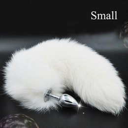 Tapones De La Cola De Los Animales Baratos-Pure White Fox Tail Butt Metal Plug 35 cm de largo Anal Sex Toy Animal Role Play Cosplay con Real Racoon Dog Hiar Sex Products