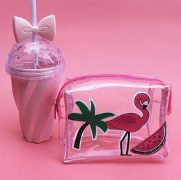 TransparenT cuTe carToon case online shopping - Flamingos Transparent Storage Bag Cosmetic Bag Small Cellphone Case Cute Cartoon Storage Toiletry Travel Organizer Makeup Bag KKA3062