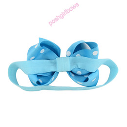 $enCountryForm.capitalKeyWord Australia - free shipping 120pcs 4.5'' Children Bowknot ribbon Elastic Headband Baby Kids Headband Cute Ribbon Polka Dot Girl Hair Bow Accessories