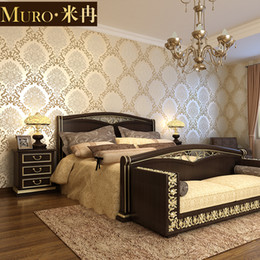 Wholesale Royal Non Woven 3D Stereoscopic Wallpaper Flocking Bronzing Noble Wallpapers  Bedroom Living Room TV Backdrop Free Shipping