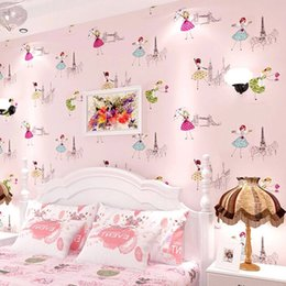 Wallpapers Walls Cartoons Australia - Modern Cartoon Kids Wallpaper Children Papel De Parede Roll Pink Blue 3D Wall Paper Ballet Girl Princess Room Bedroom Wall Paper