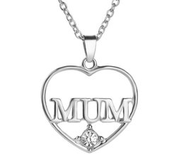 Wholesale Gold Initial Pendants Canada - Mother's Day Gift Love MUM Heart Pendant 18K Real Gold Plated Rhinestone Necklaces & Pendants Jewelry For Women