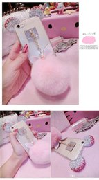 samsung rabbit case Canada - Fashion Cute 3D Bling Diamonds Metal Rabbit ear Fur ball Bowknot Pompom Tassel Soft Case For Samsung Galaxy s5 Note 3 4 5