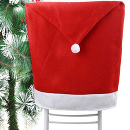China Wholesale-1PCS Christmas Day Decoration Santa Red Hat Chair Back Cover Dinner Table Party Large Sack Stocking Santa Claus Xmas Gifts cheap bamboo chairs wholesale suppliers