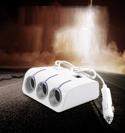 China Car Styling Universal 3 Way Auto Car Cigarette Lighter Socket Splitter Two USB Charger Power Adapter For Phone Camera Tablet PC White Color suppliers
