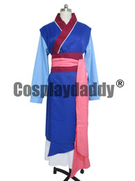 Hua Mulan Dress Robe bleue Princesse Dress Movie Cosplay Costume