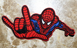Barato Ferro Spiderman Appliques-Atacado ~ High Quality Comic Movie Spiderman Big Hand Embroidered Patch Iron On Applique Patch