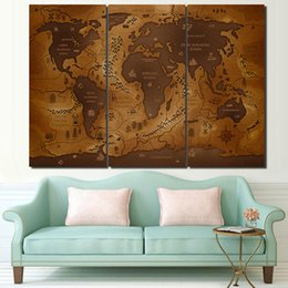 world map prints canvas 2019 - 3 Pcs Set Framed HD Printed Vintage World Map Poster Wall Art Canvas Pictures For Living Room Bedroom Home Decor Canvas