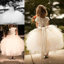 $enCountryForm.capitalKeyWord Australia - 2019 Flower Girl Dress Short Sleeve Sash Lay White Lace and Tulle Tutu Skirt Kids Communion Formal Wear Dress Custom Made DTJ