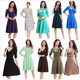 Wholesale Plus Size Clothing Dresses Canada - Dresses OL Work Dress Business Cocktail Dresses Women Casual Plus Size Dress High Waist Vintage Dress Fashion V Neck Dresses Clothing B2532