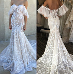 backless boned wedding dress 2019 - Sexy Berta Off Shoulder Mermaid Wedding Dresses 2017 Appliques Sweep Train Backless Lace Wedding Bridal Gown With Bone c
