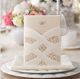 Golden weddinG invitations cards online shopping - sample Elegant White and red Linked Ribbon Golden Shiny Wedding Invitation Card with Envelopes and Seals